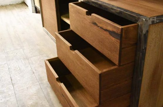 Custom Furniture made for your home in hong kong with Dark walnut elm and artistic brushed steel