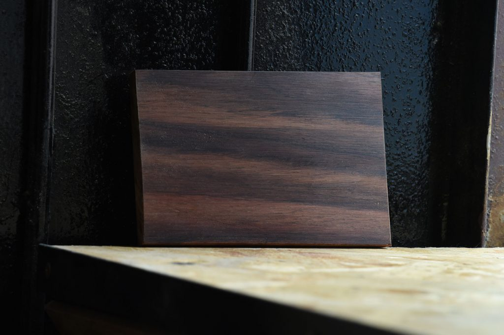 Swatch of Sonokeling (Indian Rosewood) used for custom furniture