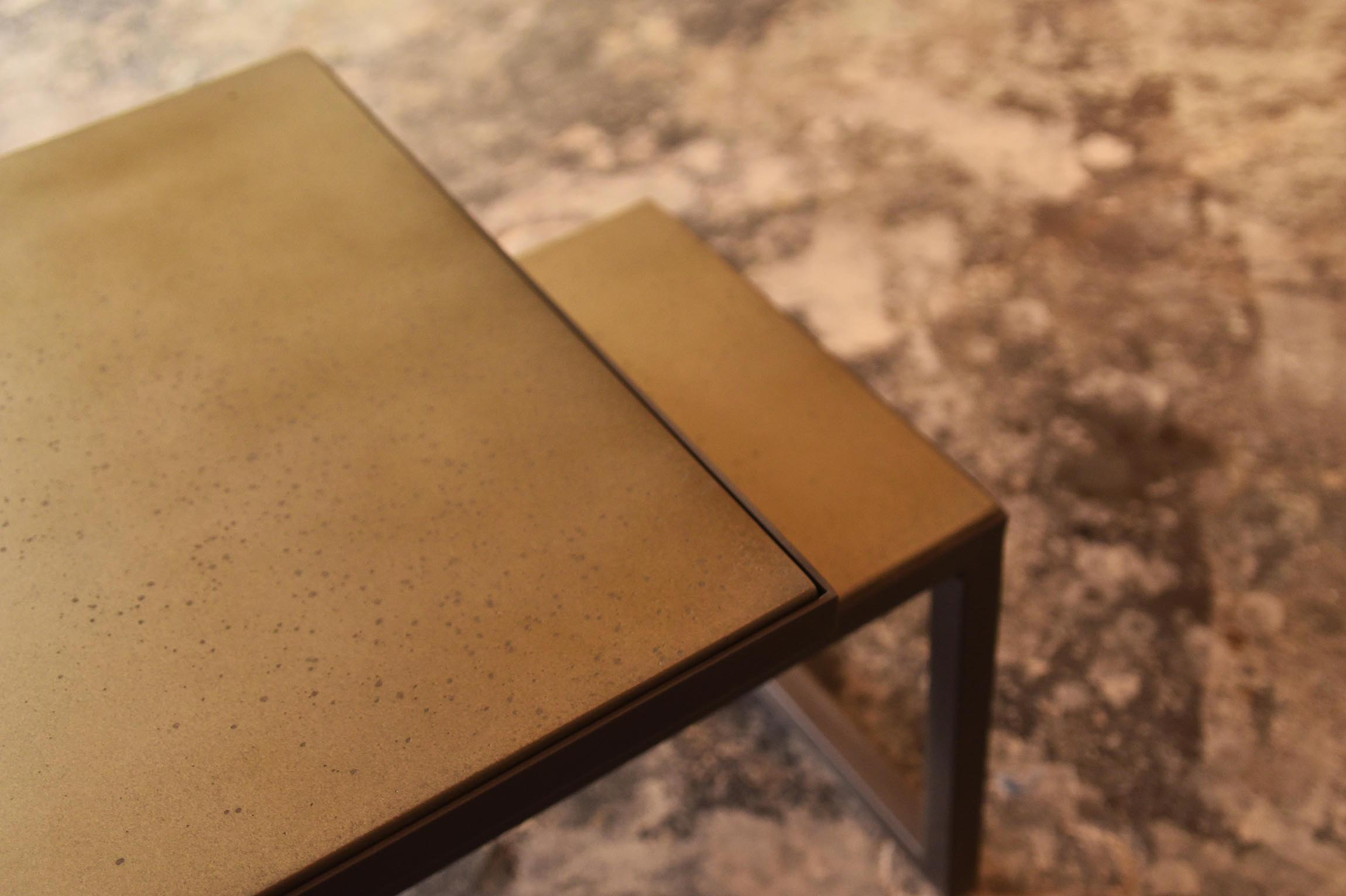 Special Edition Tandem Table with Pitted surface bronze custom furniture