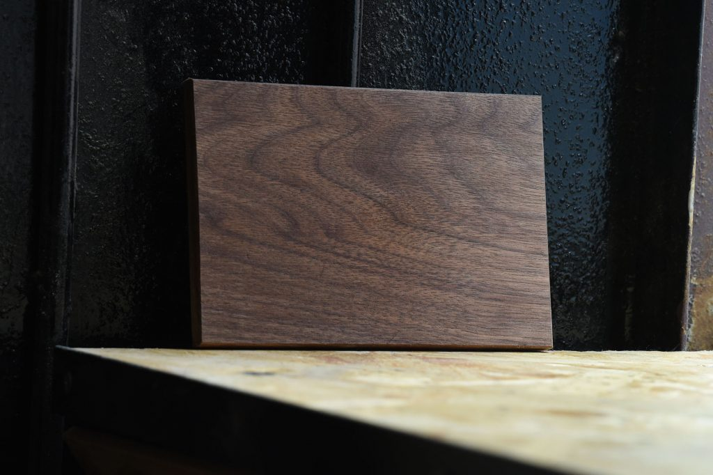Swatch of American Walnut wood used for custom furniture