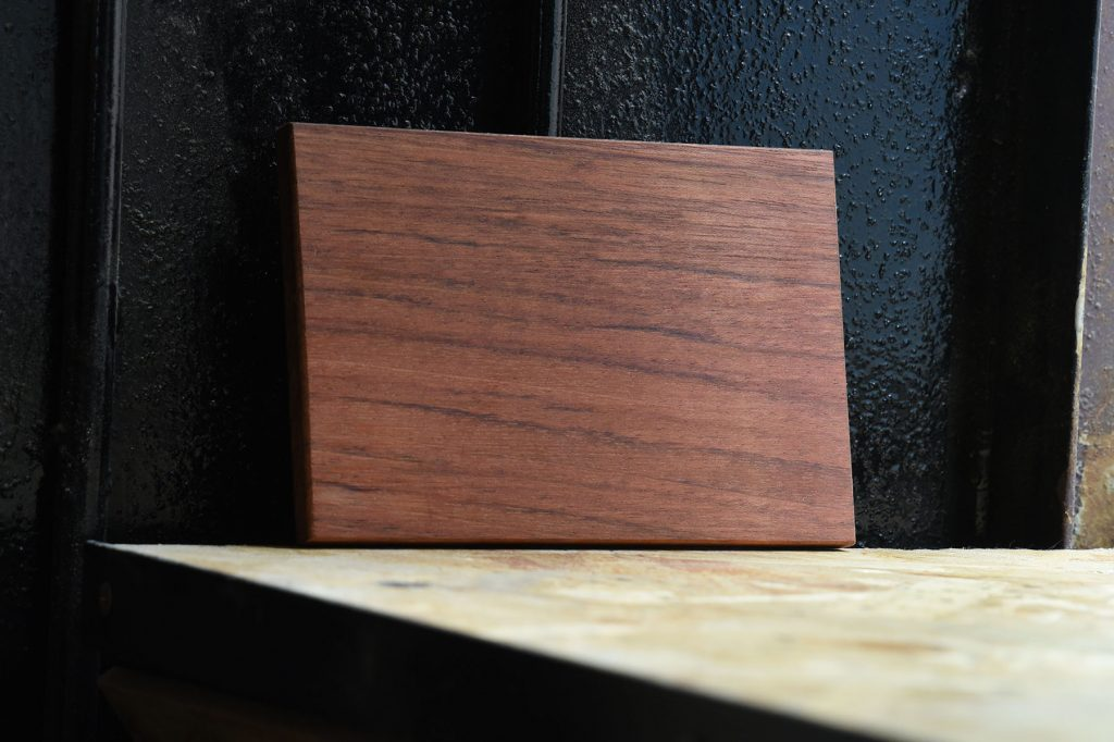 Swatch of Jatoba wood used for custom furniture
