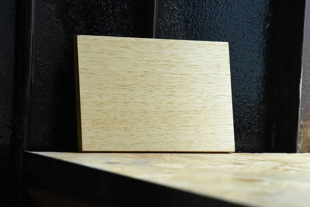 Swatch of Marupa wood used for custom furniture