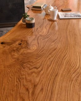 Details of knot and large oak grain in custom furniture with two J.Cheng Stools custom made with okoume and zebrano wood