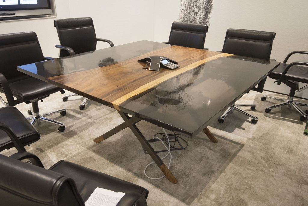 Custom Furniture River Table with a Cable Cap clear grey epoxy resin river conference table