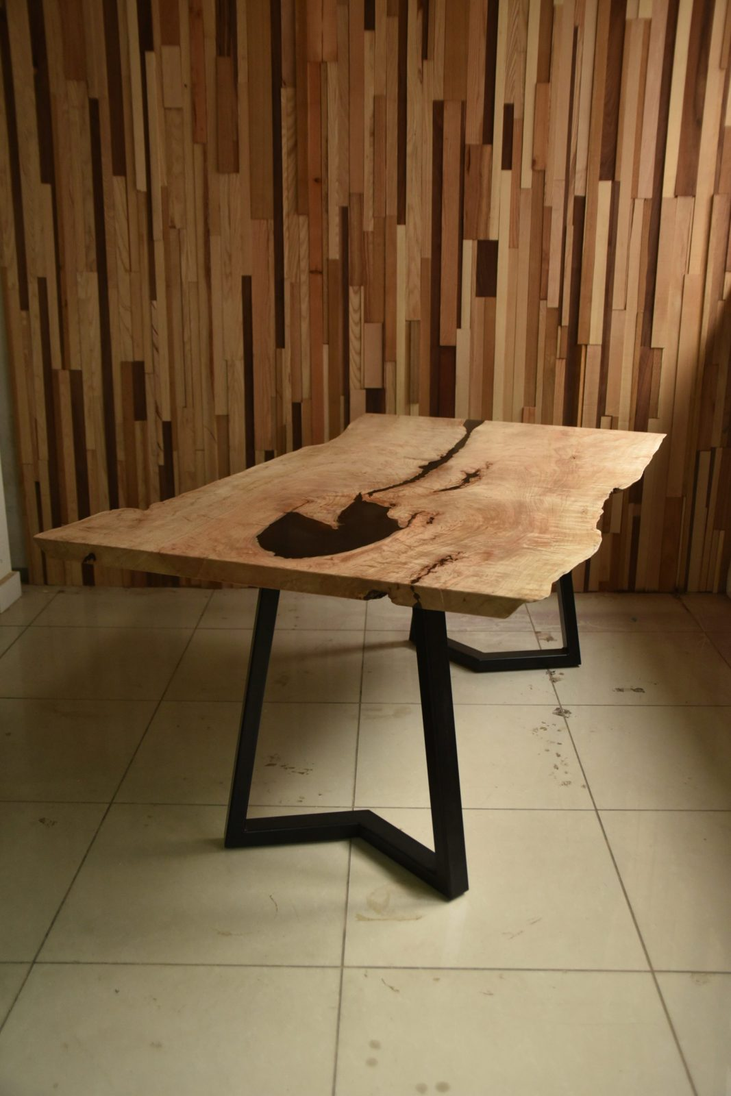 grey transparent epoxy resin river dining table