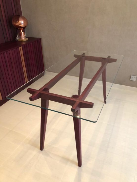Custom Purpleheart Dining Table with Glass