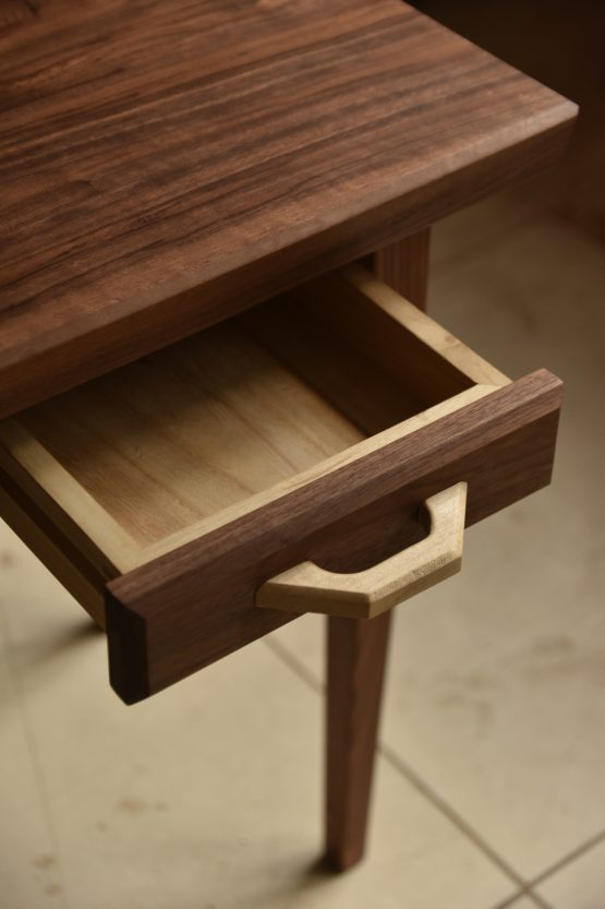 custom sized solid wood bed side table