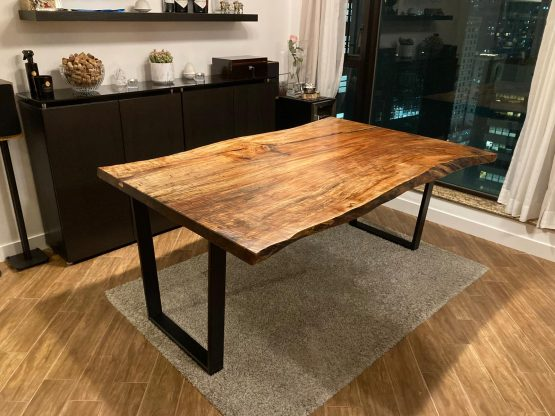 industrial style live edge slab table spalted maple