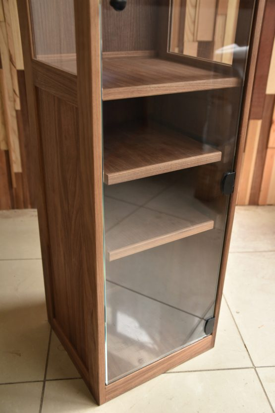 custom liquor cabinet black walnut & glass