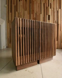 Slatted Walnut End Cabinets