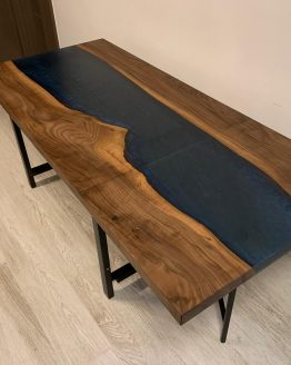 epoxy resin river collapsing dining table