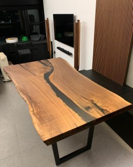 modern walnut black river table