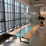 blue epoxy resin river dining table