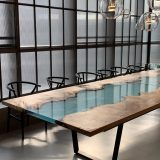 blue epoxy river translucent river dining table