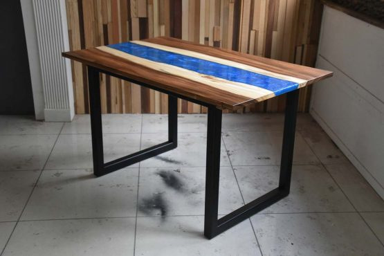 maui blue epoxy resin river dining table