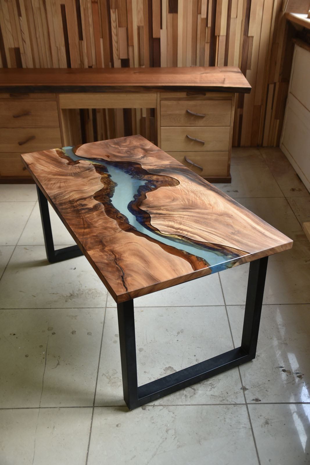 clear blue epoxy resin river dining table