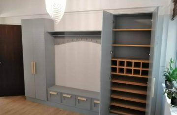 Painted cabinets and storage for entertainment unit