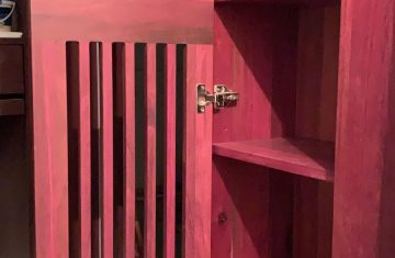 Purpleheart in-built slatted entry way cabinet