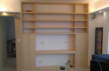 White Oak In-built side cabinets and desk