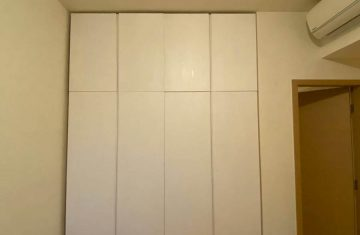Painted White in-built wardrobe with drawers