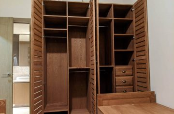 Stained Solidwood Wardrobe with louvered doors